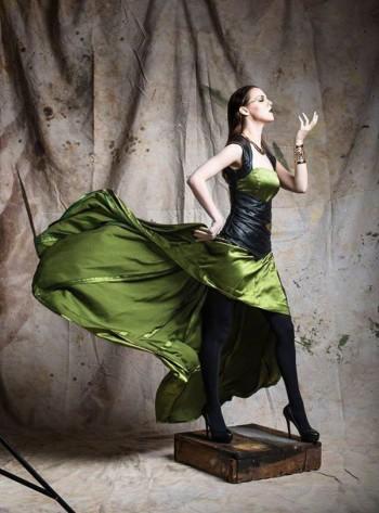 Briana modeling a long green dress