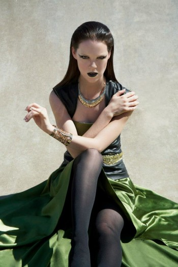 Briana modeling long dress and gothic makeup