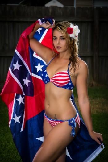 Chyanne Jenee Pearson modeling an american flag bikini