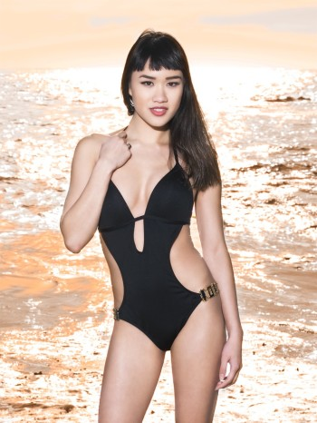 Elyse Nicole Craft wearing a black swimsuit
