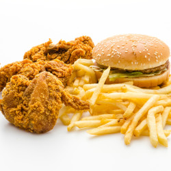 Fried chicken, hamburger and French fries