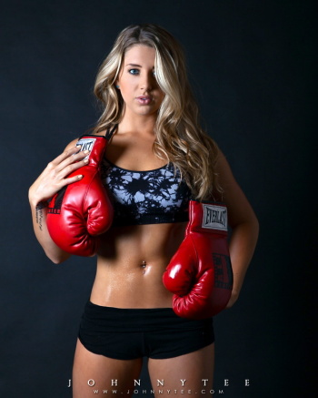 Heather Hoffman with boxing gloves