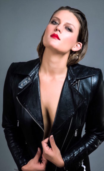 Lydia Mae topless modeling a leather jacket