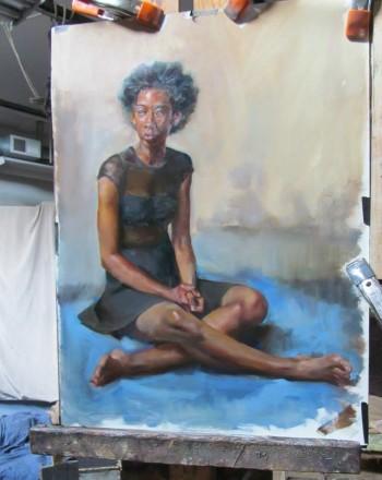 Miranda Wright on a painting
