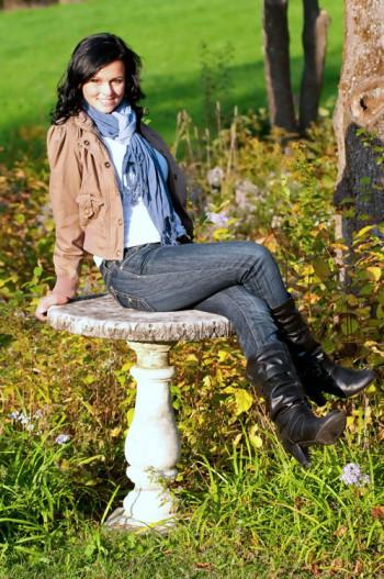 Sarah Michelle in a garden